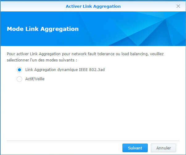 Configurer et tester l'agrégation de liens sur un Synology