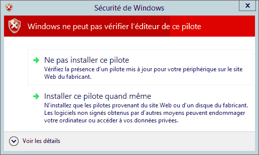 Installer le driver du controleur Intel 82579V sous Windows Server 2012
