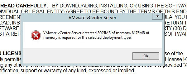 VMware vCenter Server 8176MB of memory is required