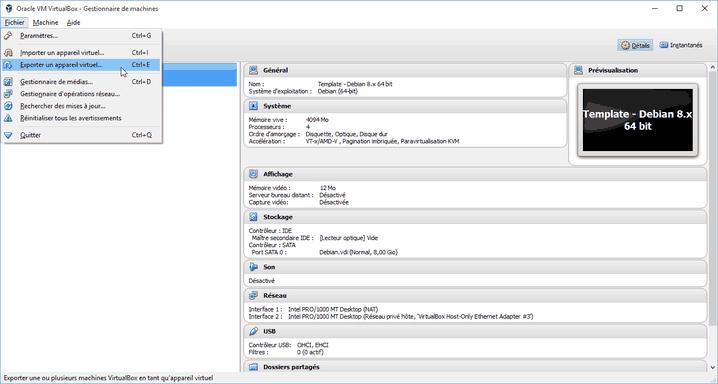 Créer des templates de VM sous Virtualbox
