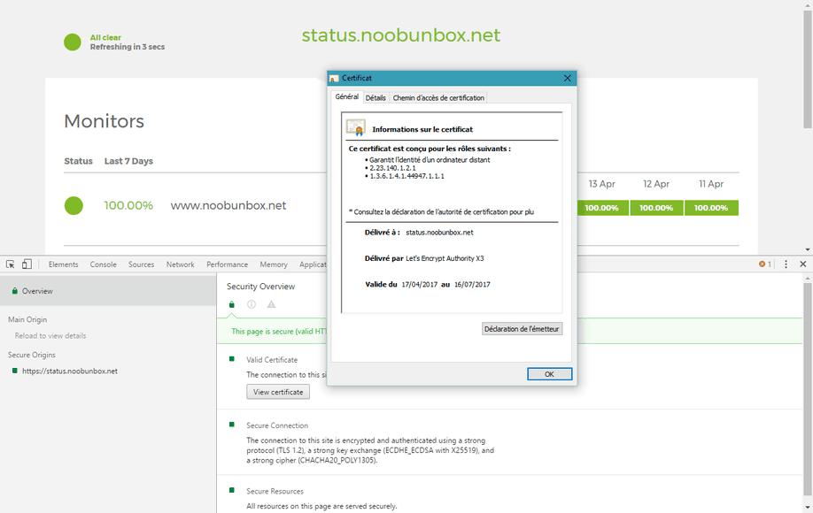 HTTPS et UptimeRobot public status page
